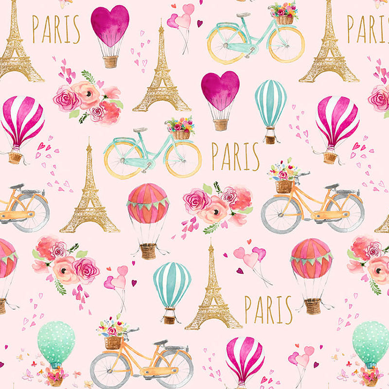 Love is in the Air Hot Air Balloons with Eiffel Tower Pink