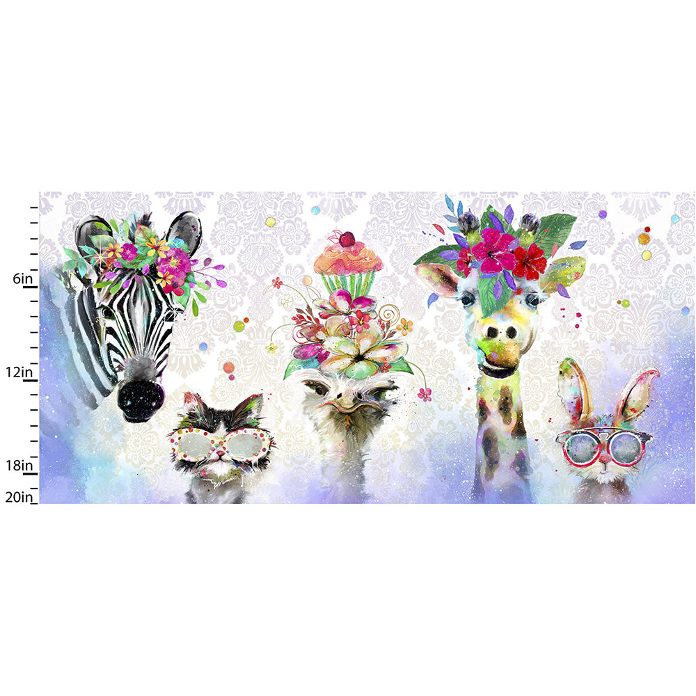 "Party Animals 20"" Animal Faces Panel"