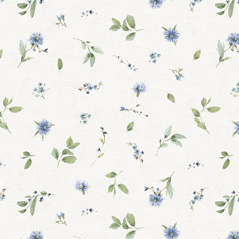 Bohemian Blue Small Floral Toss Cream