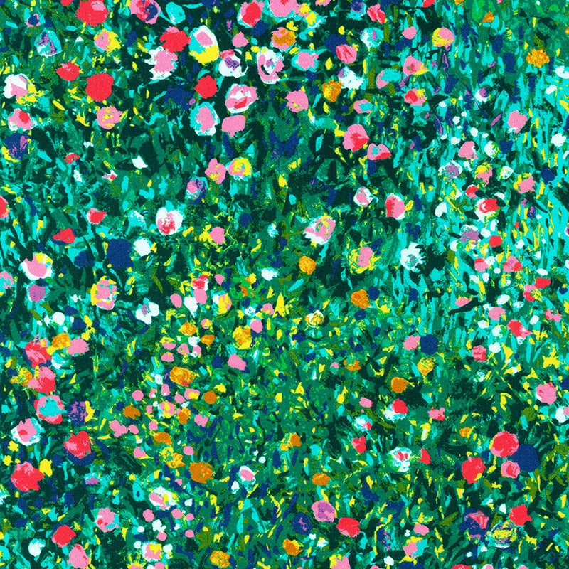 Painterly Petals Green Meadow