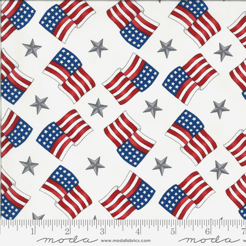 America the Beautiful Flags Stars White