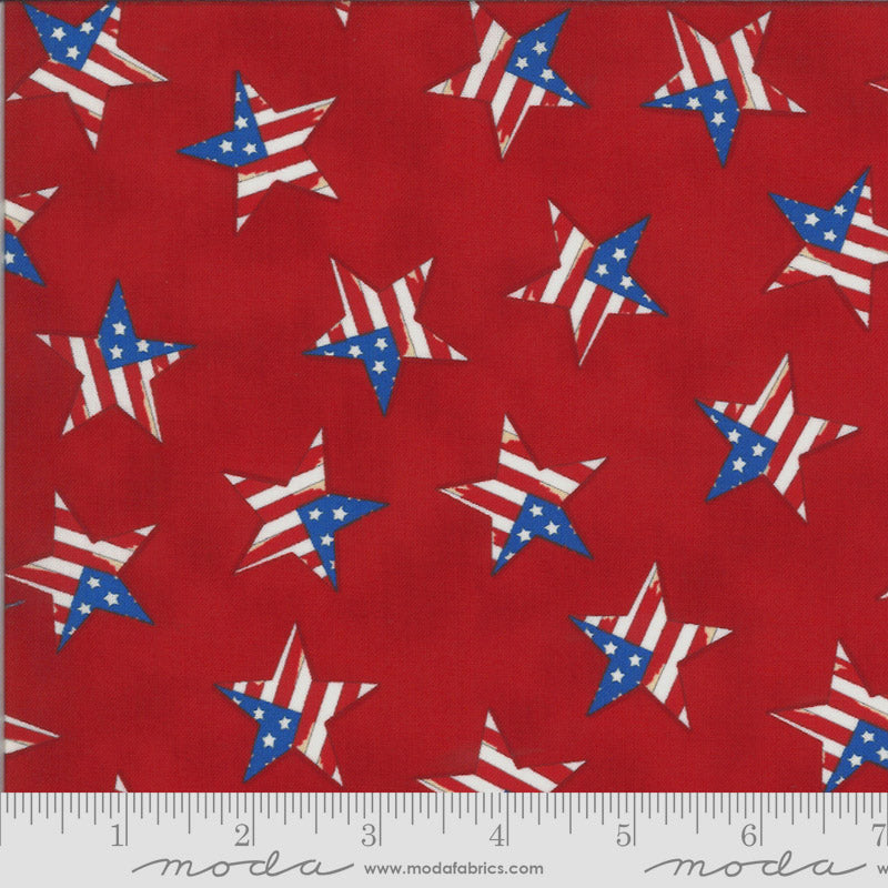 America the Beautiful Tossed Flag Star Barnwood Red