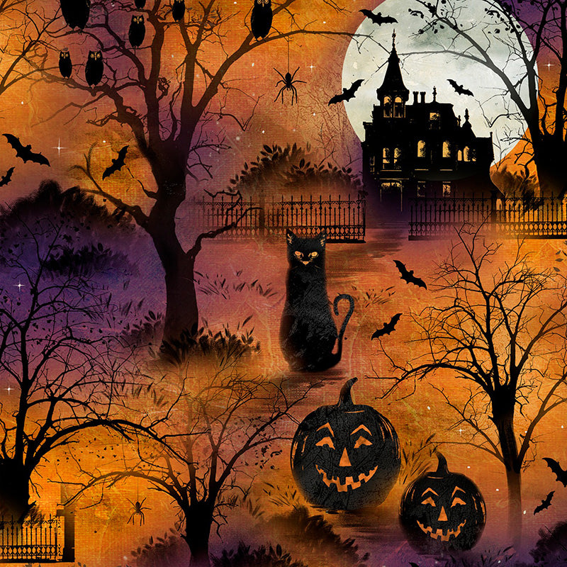 Frightful Night Scenic All Over Orange