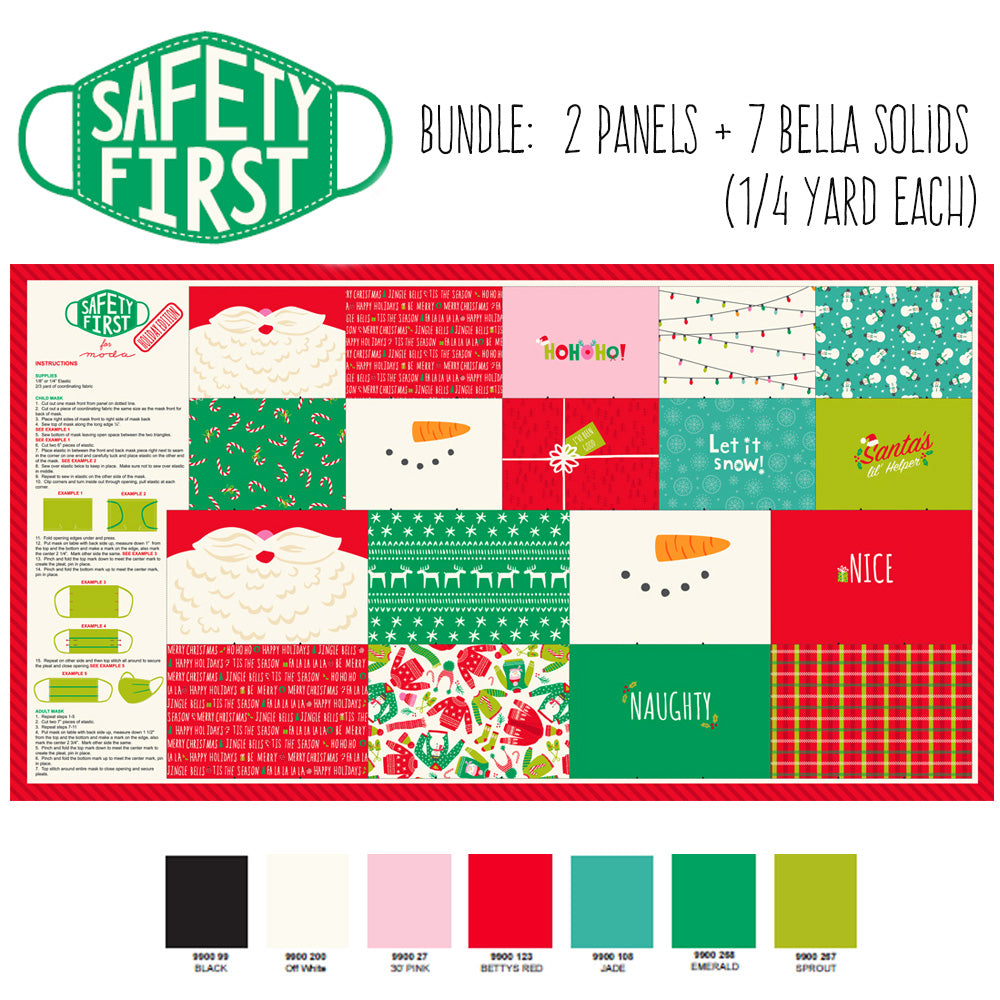 Safety First Face Mask Panel Holiday Edition Bundle - 2 Panels + 7 Bella Solids