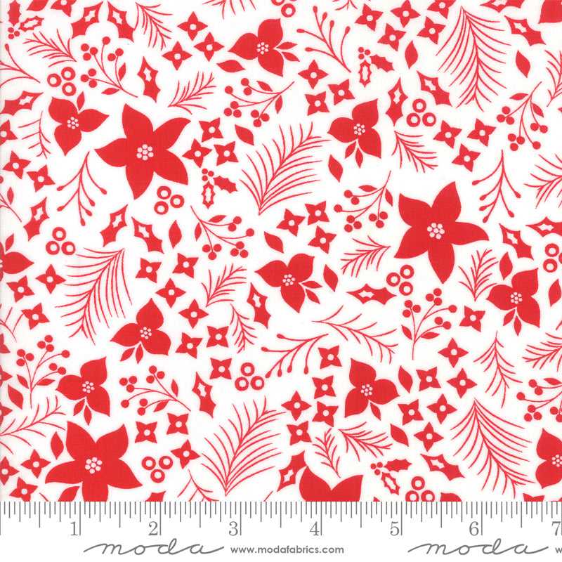 Holliberry Christmas Flowers Snow/Scarlet