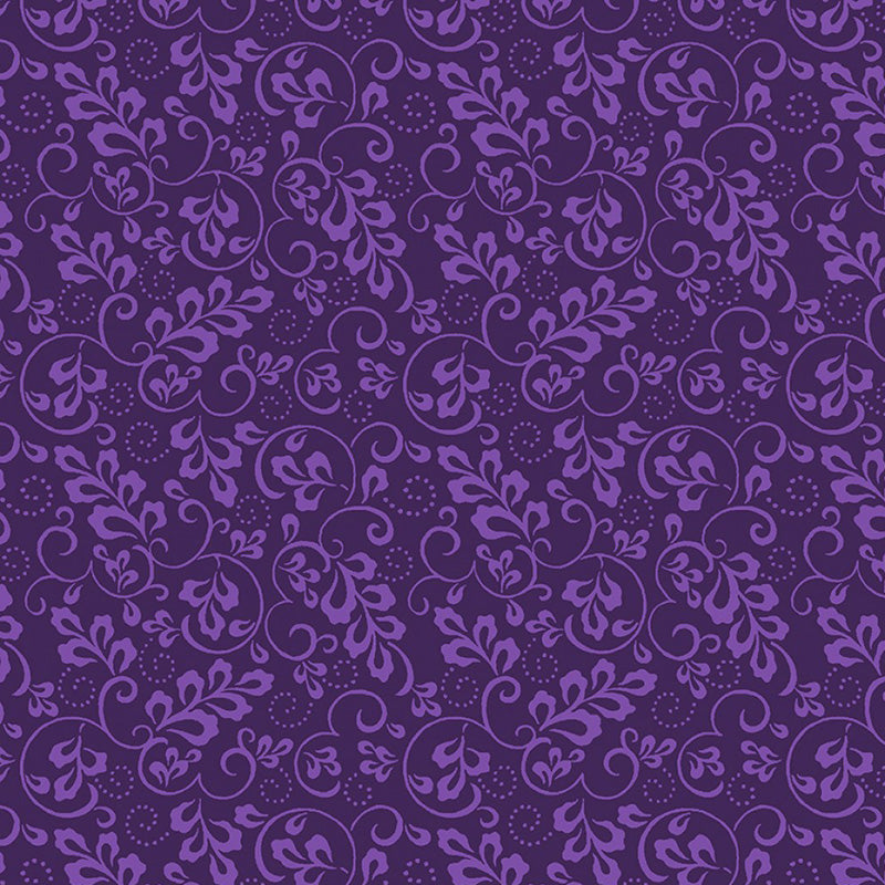 Grape Crush Leaf and Scroll Darkest Purple