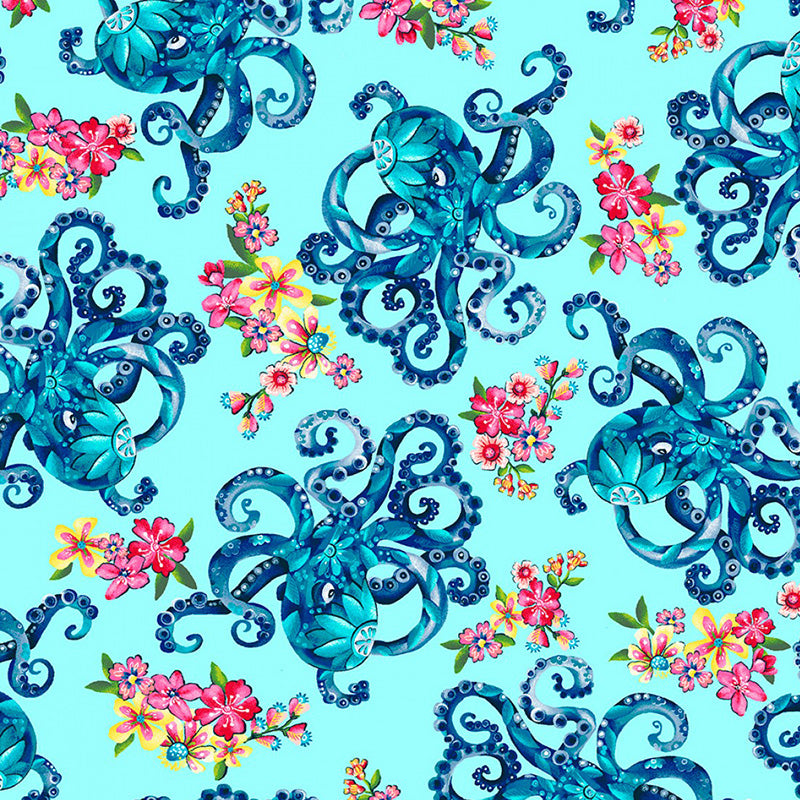 Blooming Ocean Octopus's Garden Light Blue