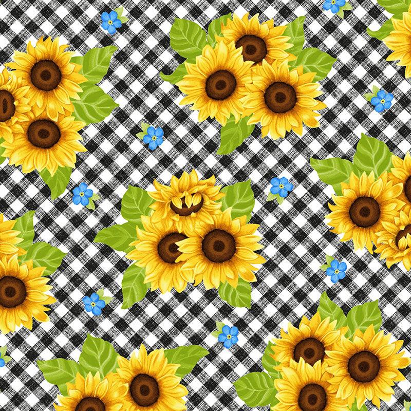 Sunny Sunflowers Tossed Sunflowers on Gingham