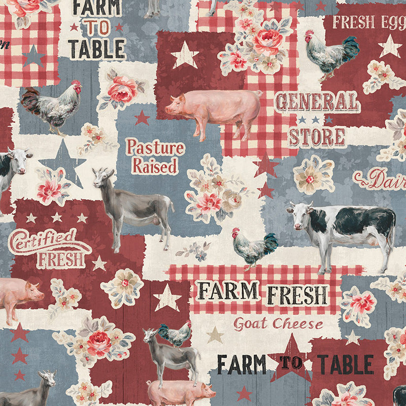 Farmhouse Chic Large Allover Blue/Red