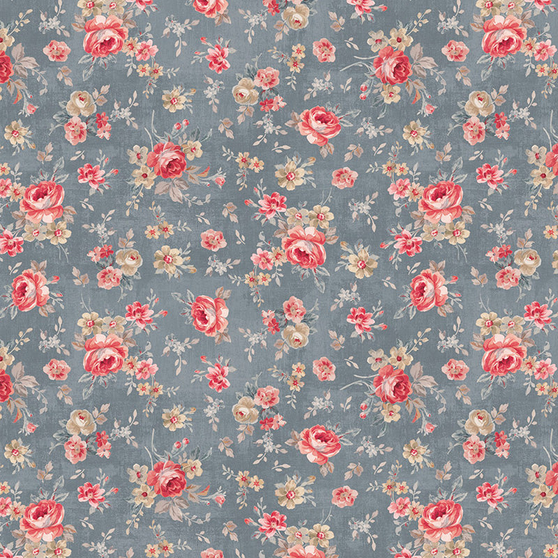 Farmhouse Chic Floral Toss Gray/Blue