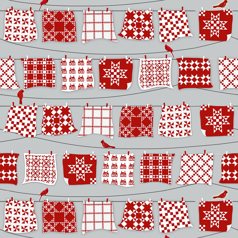 Holiday Heartland Red/White Quilts Hanging on Line