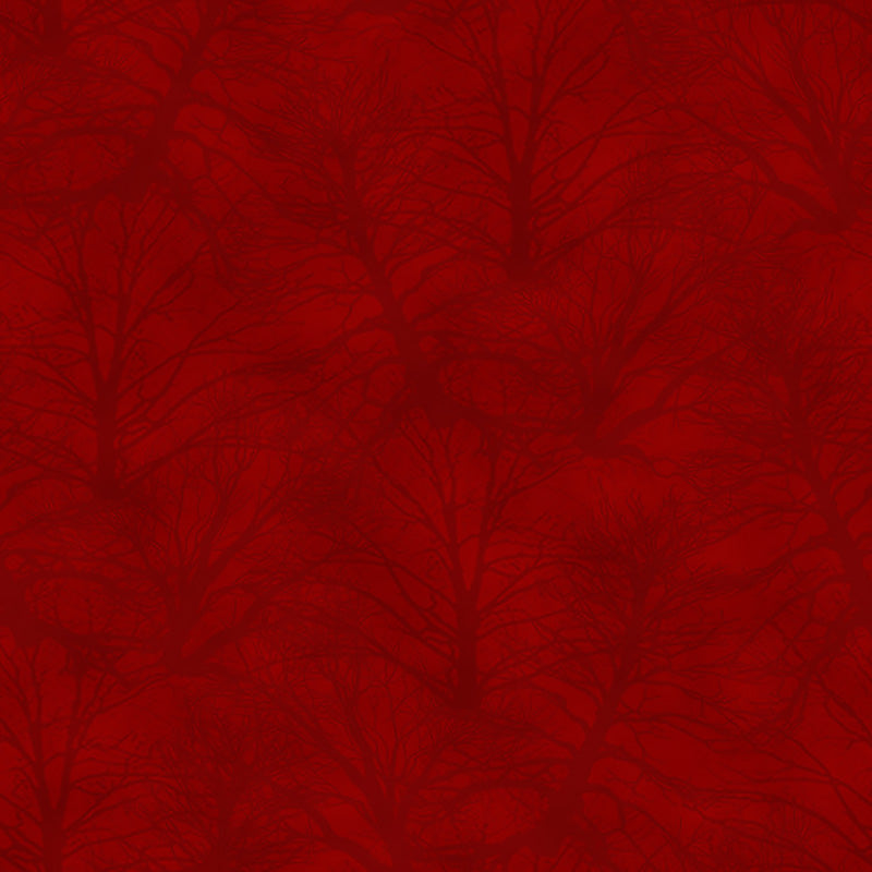 Holiday Heartland Trees Tonal Tossed Red