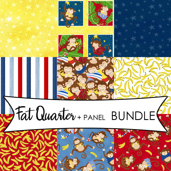 "Monkey Business Fat Quarter Bundle + 24"" Blocks Panel Bundle"