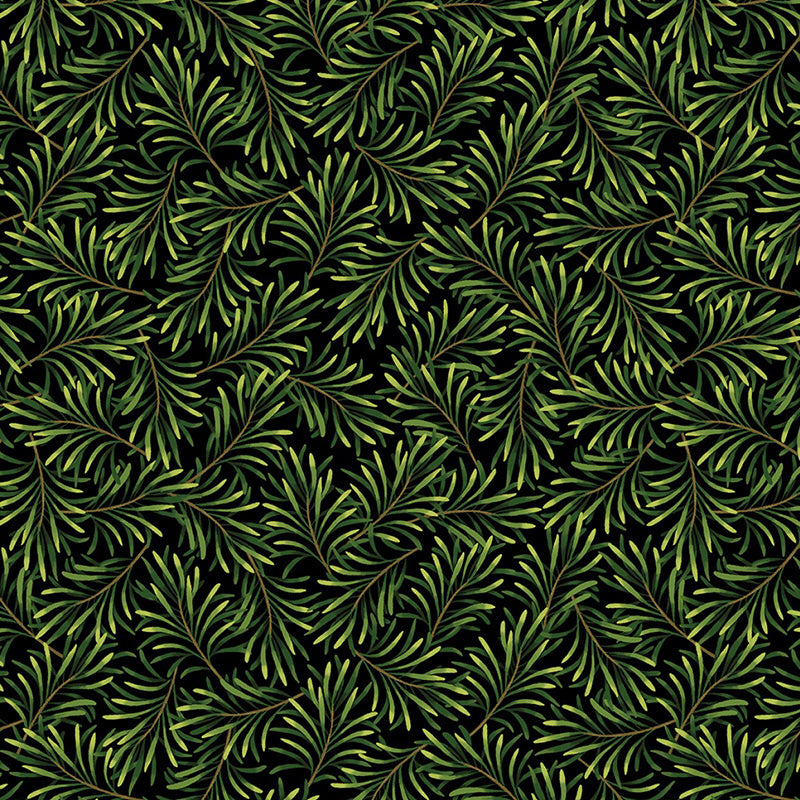 "108"" Wide Boughs of Beauty Black/Green from Kanvas"
