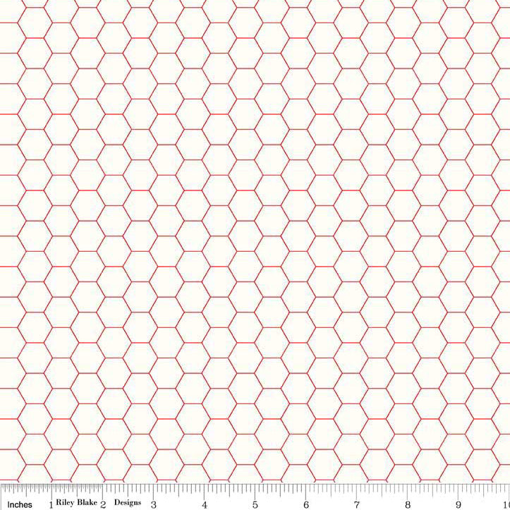 Bee Backgrounds Honeycomb Red from Riley Blake