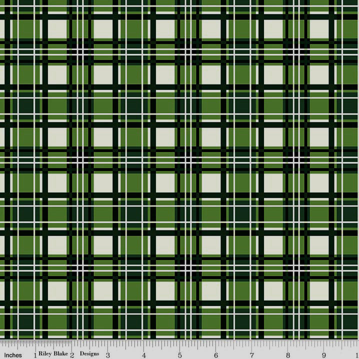 Christmas is Here Plaid Green