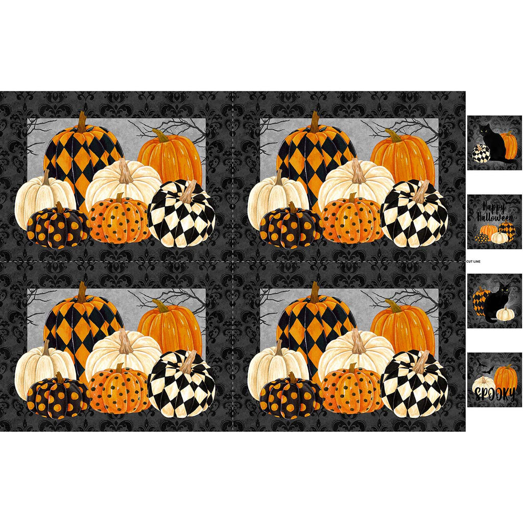 "Black Cat Capers Placemats 28"" Panel Black Multi"