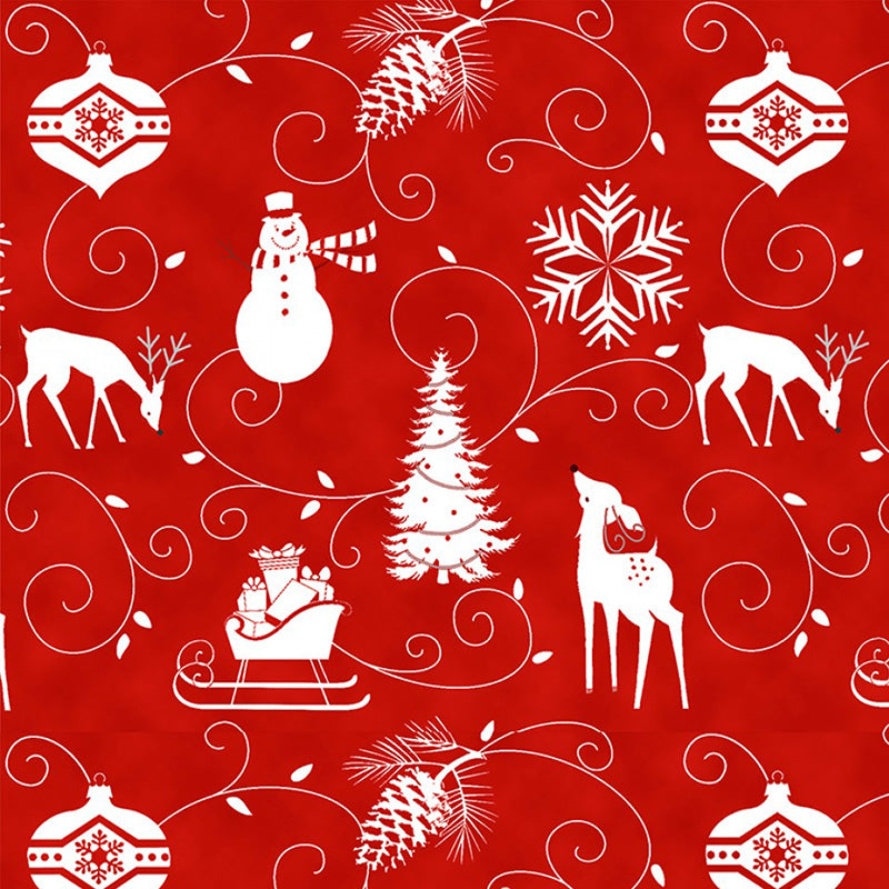 Winter Frost Flannel Graphic Motifs Red