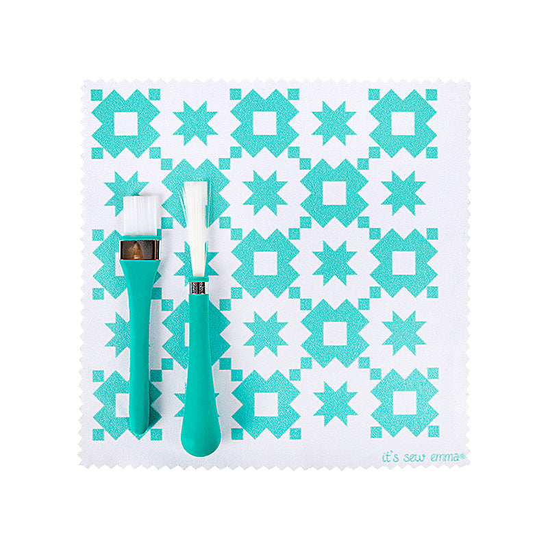 Teal Oh Sew Clean Brush and Cloth Set