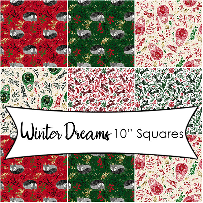 "Winter Dreams Cinnamon & Holly 10"" Squares from RJR"