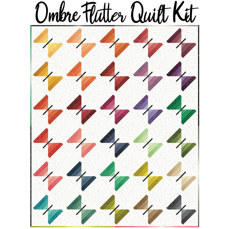 Ombre Flutter Boxed Quilt Kit with Ombre Fairy Dust Metallic from Moda