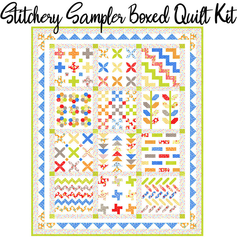 Stitchery Sampler Boxed Quilt Kit with Figs & Shirtings Fabric from Moda