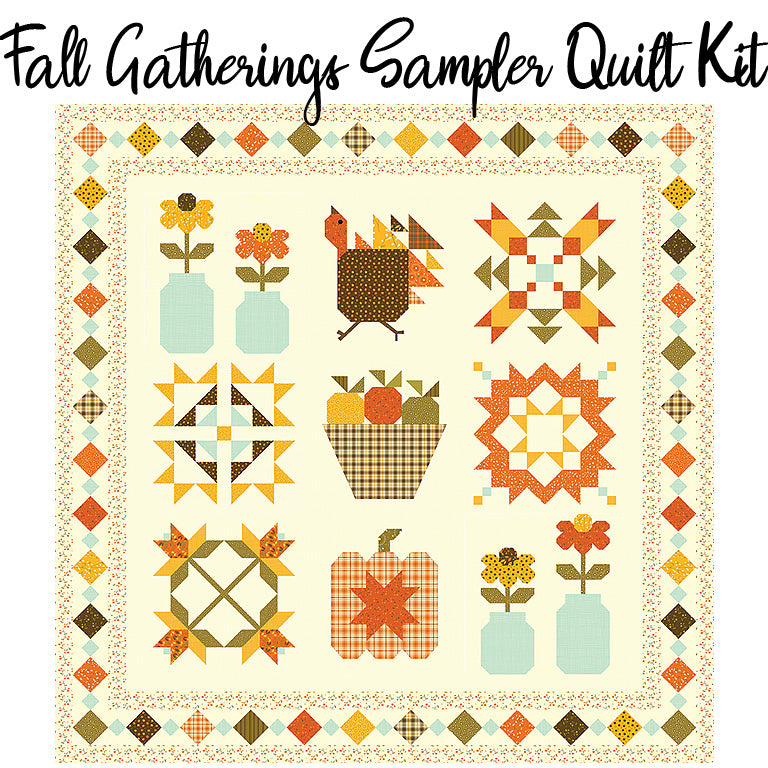 Fall Gatherings Sampler Boxed Quilt Kit with Adel in Autumn fabric by Riley Blake