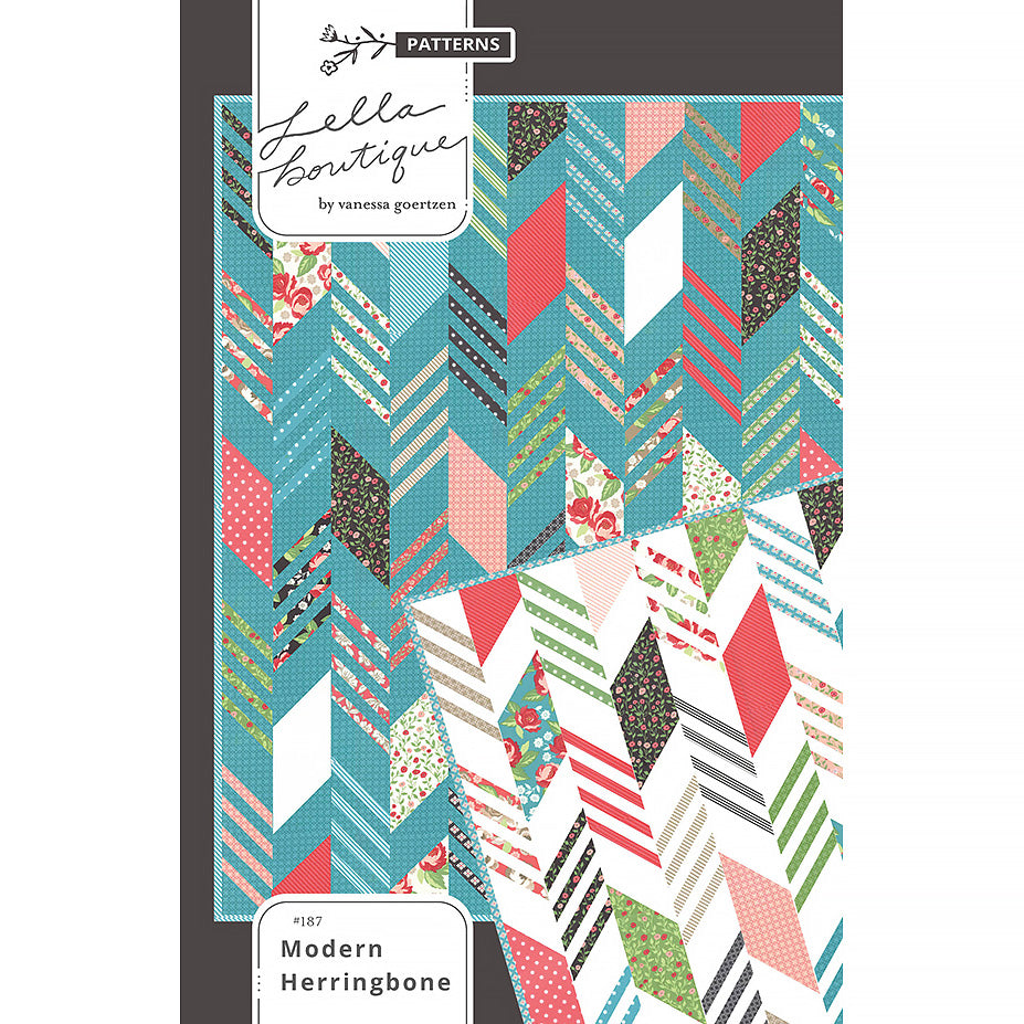 Modern Herringbone Quilt Pattern by Lella Boutique