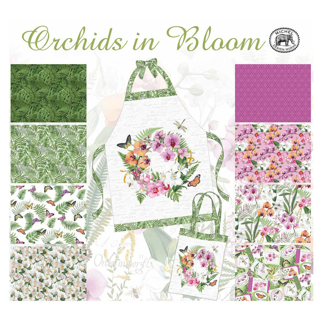"Orchids in Bloom 24"" Canvas Apron Panel"