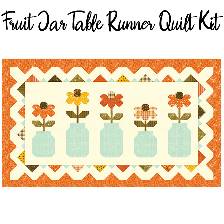 Fruit Jar Table Runner Quilt Kit with Adel in Autumn fabric by Riley Blake