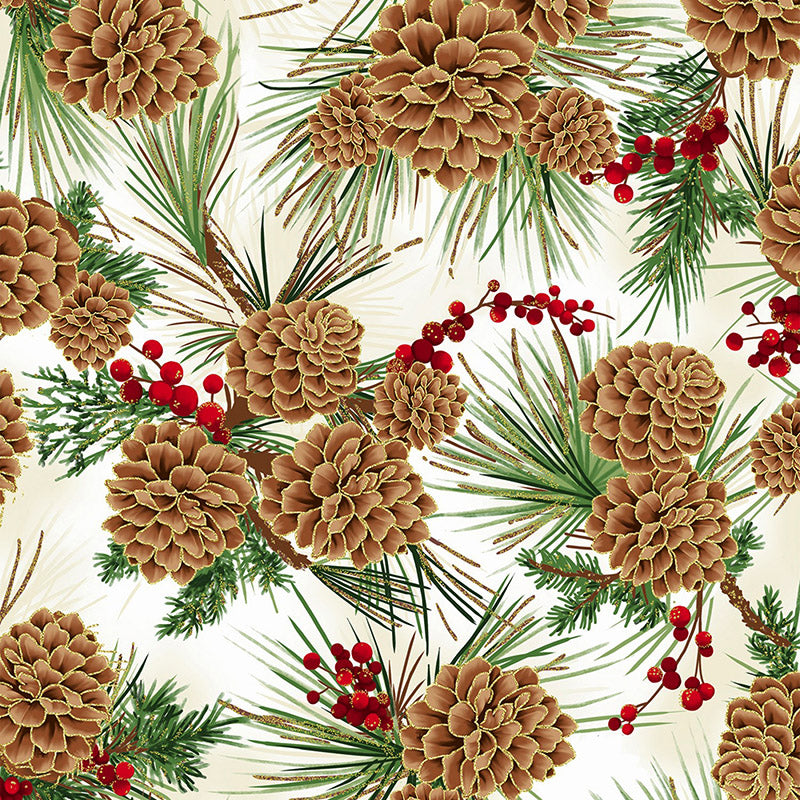 Joyful Traditions Pine Cones Natural Gold