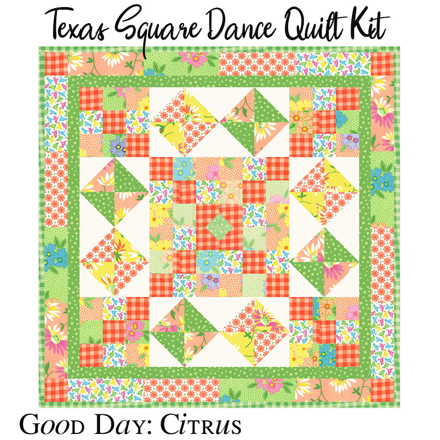 Texas Square Dance Citrus Quilt Kit with Backing