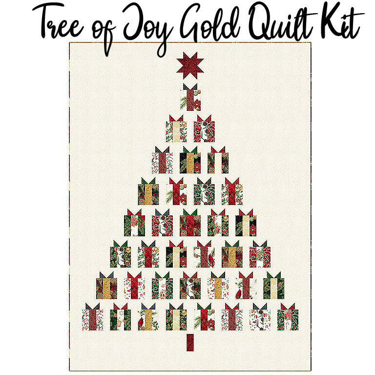 Tree of Joy Gold Quilt Kit with Joyful Traditions from Hoffman
