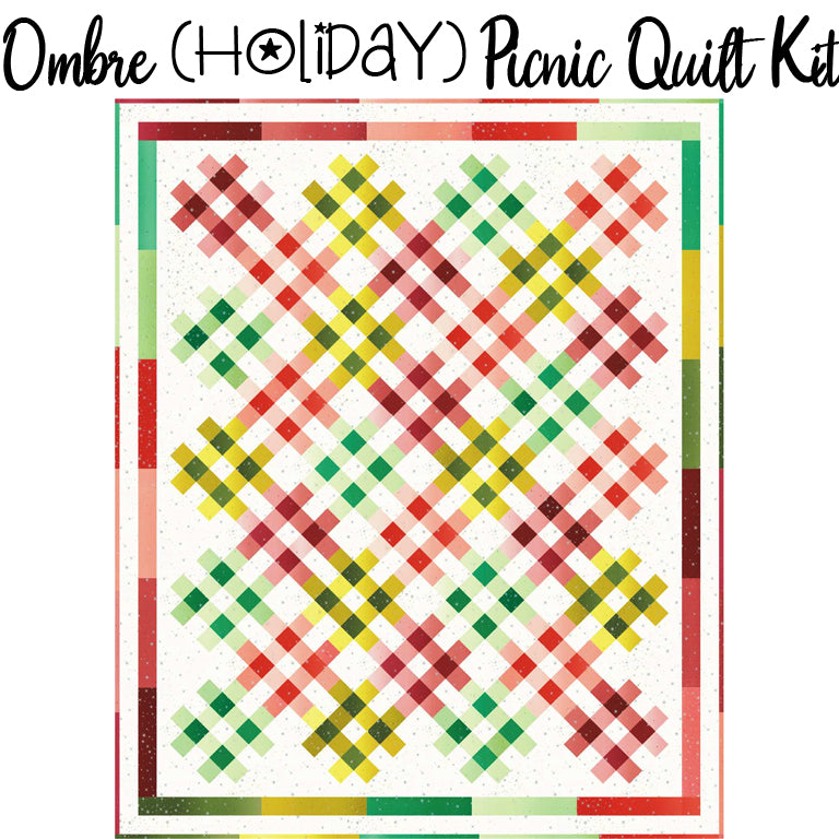 Ombre Holiday Picnic Quilt Kit with Ombre Fairy Dust Metallic from Moda
