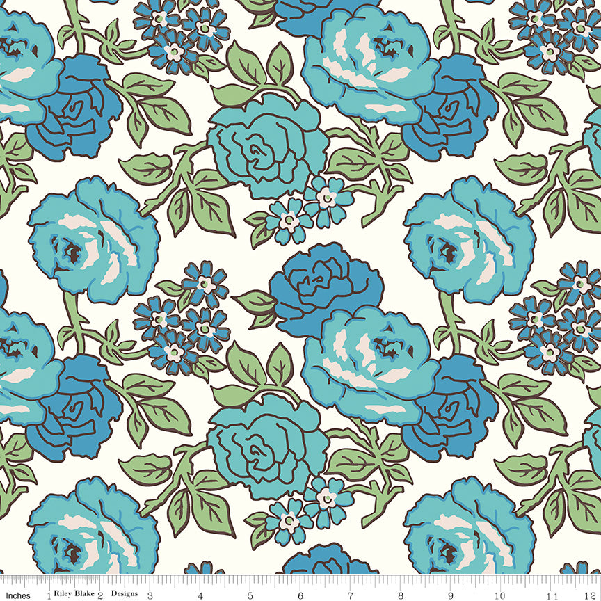 "108"" Wideback Flea Market Roses Blue from Riley Blake"
