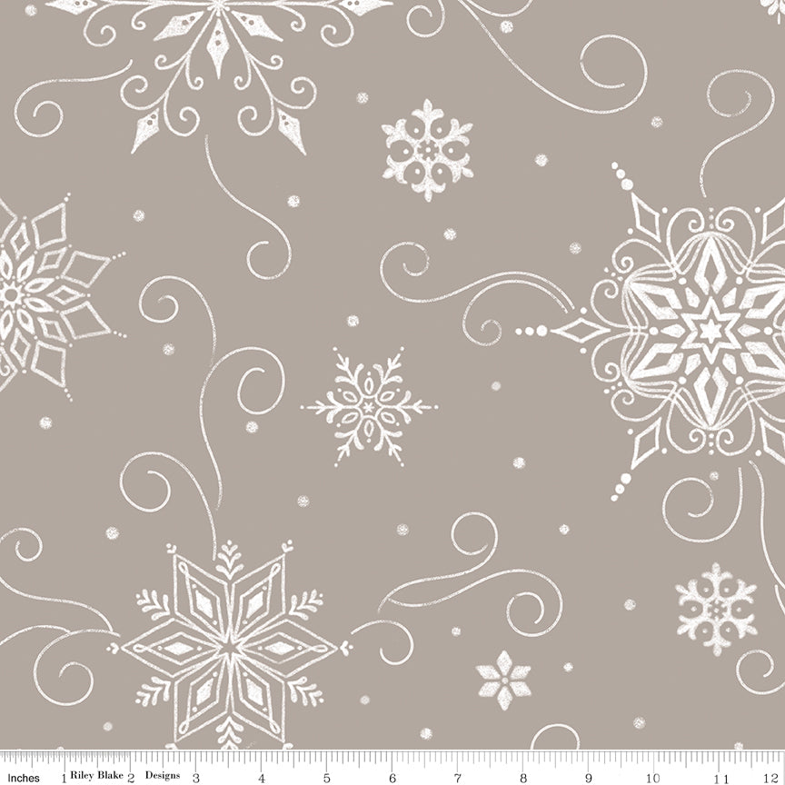"108"" Wide Quilt Backing Snowed In Snowflakes Gray from Riley Blake"