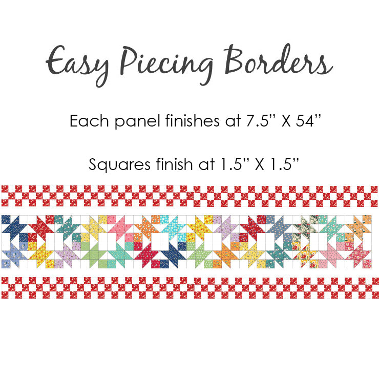 "Easy Piecing Grid BORDER PANEL for 1.5"" FINISHED Squares"