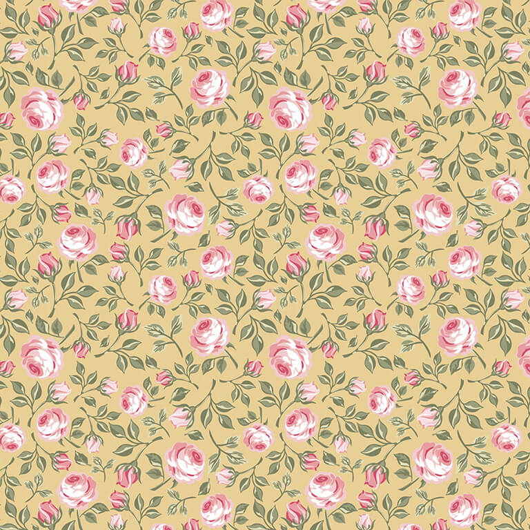 Gingham Farmhouse Vintage Roses Mustard