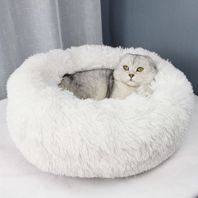 Long Plush Super Soft Pet Bed Kennel Dog Round Cat Winter