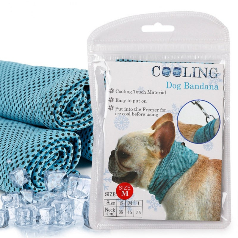 Instant Ice Cooling Dog Bandana Scarf for Pet small dogs Bulldog Summer Polyester Sunstroke Cooling Neck Wrap Dog Collar Perro