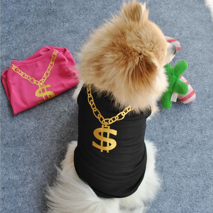 Pet Clothes Vest Dogs Tshirts Dollar Sign Clothing Wedding Clothes Gold Pet Products Dog