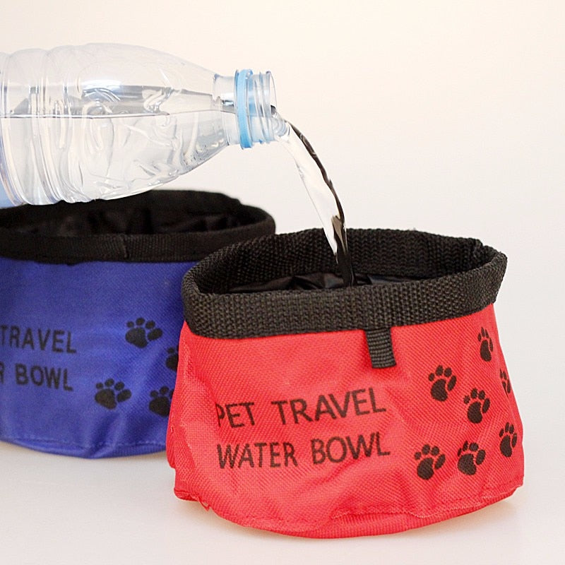 Portable Pet Dogs Cat Canvas Folding Travel Bowl Feeding Bowl Feeder Bottle Cat Dog Water Bowls Goods for Dogs