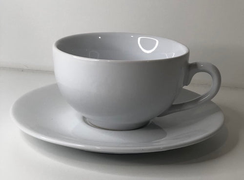White Ceramic Tea Cup & Saucer