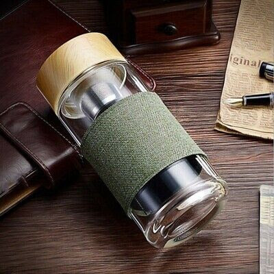 Glass Travel Mug with Stainless Steel Infuser & Protective Sleeve
