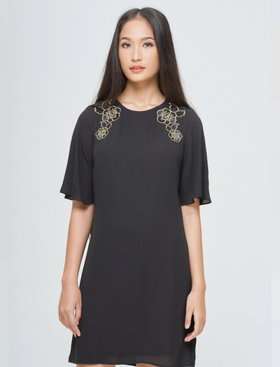 BLACK EMBROIDERED SHOULDER SHIFT - GAYAKU ONLINE