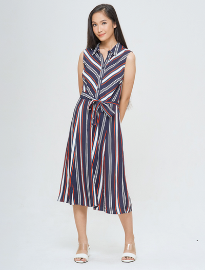 MULTI STRIPE SLEEVELESS MIDI - GAYAKU ONLINE