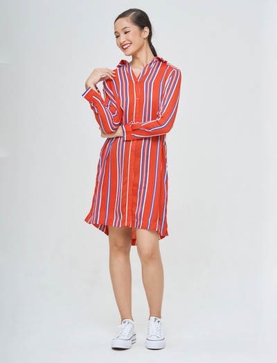 LISA STRIPED SHIRT DRESS - GAYAKU ONLINE