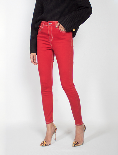 SEXY FIT IN RED SHIRED JEANS,BUY JEANS ONLINE, BQ  COLLECTIONS, THE ICONIC RED LINE JEANS, JEANS STYLE OOTD