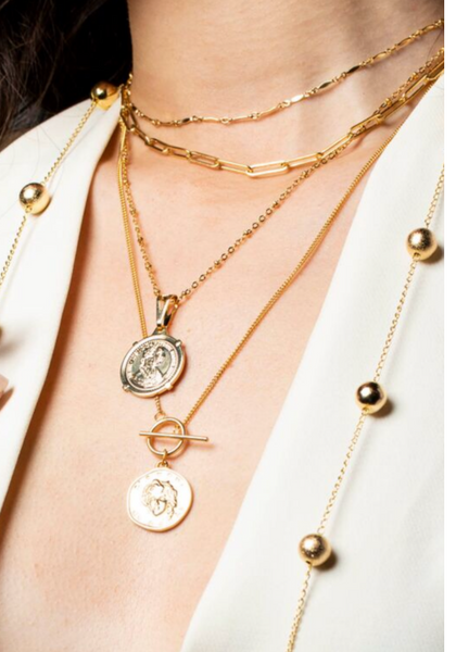 Medusa Coin Toggle Necklace