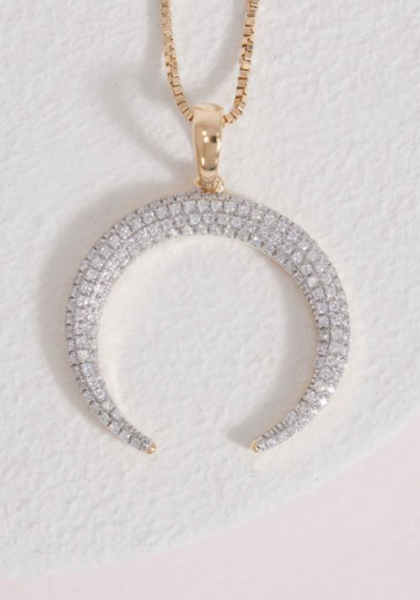 Pave Diamond Crescent Horn Necklace